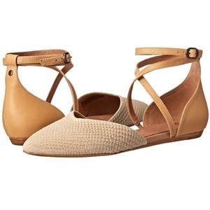 UGG Brown Izabel Leather Ankle-strap D'orsay Flats